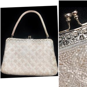Vintage White Beaded Silver Filigree Cocktail Bag